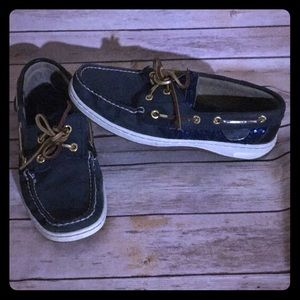 Sperry Top Sider Navy leather with sequin 8M